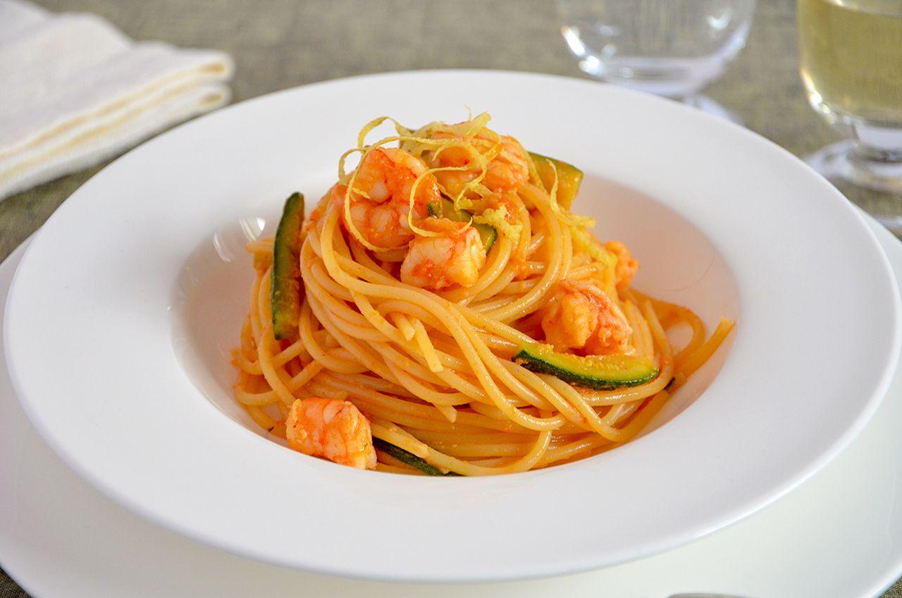 Capellini Al Forno Giada pasta gamberi e zucchine