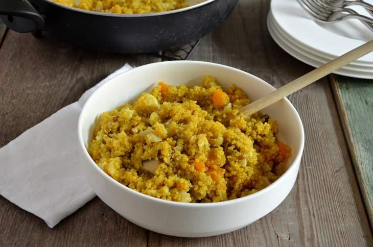 Quinoa con zucca, funghi e cavolfiore